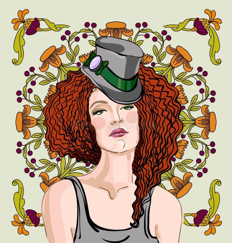 Vrouw met rood haar royalty-vrije illustratie