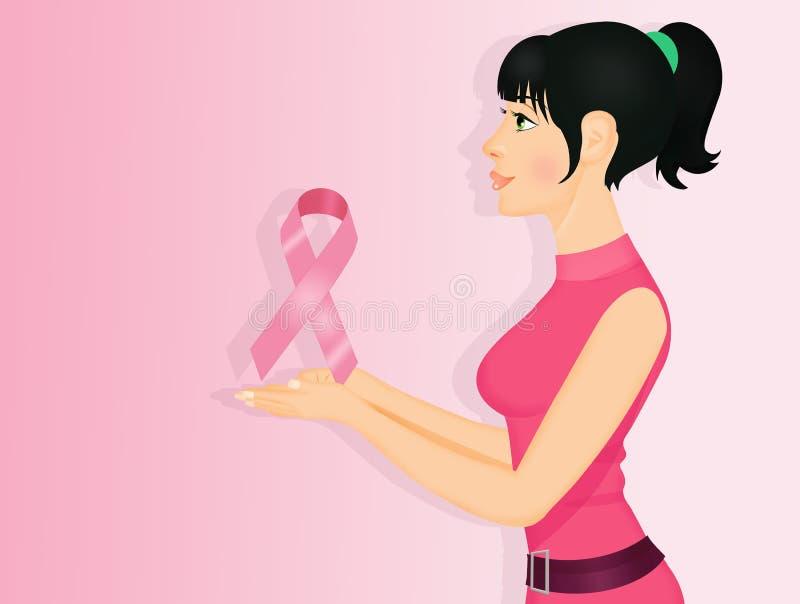 Vrouw met roze lint vector illustratie