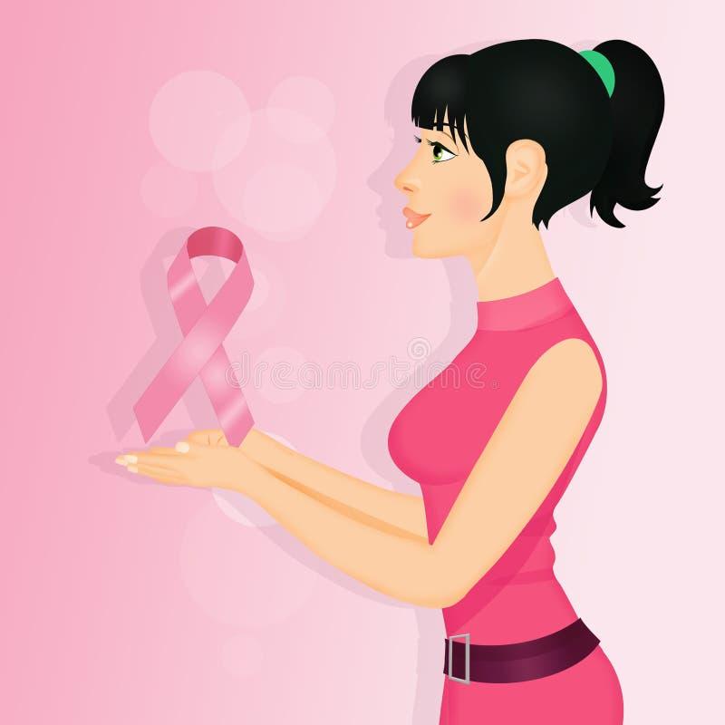 Vrouw met roze lint voor borstkanker royalty-vrije illustratie