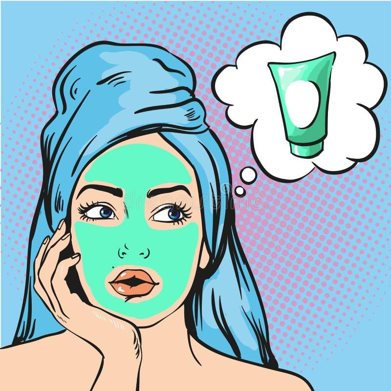 Vrouw met schoonheids kosmetisch masker op gezicht Vectorillustratie in pop-art grappige stijl vector illustratie