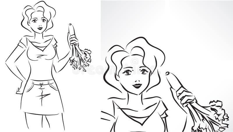 Vrouw met selderie stock illustratie