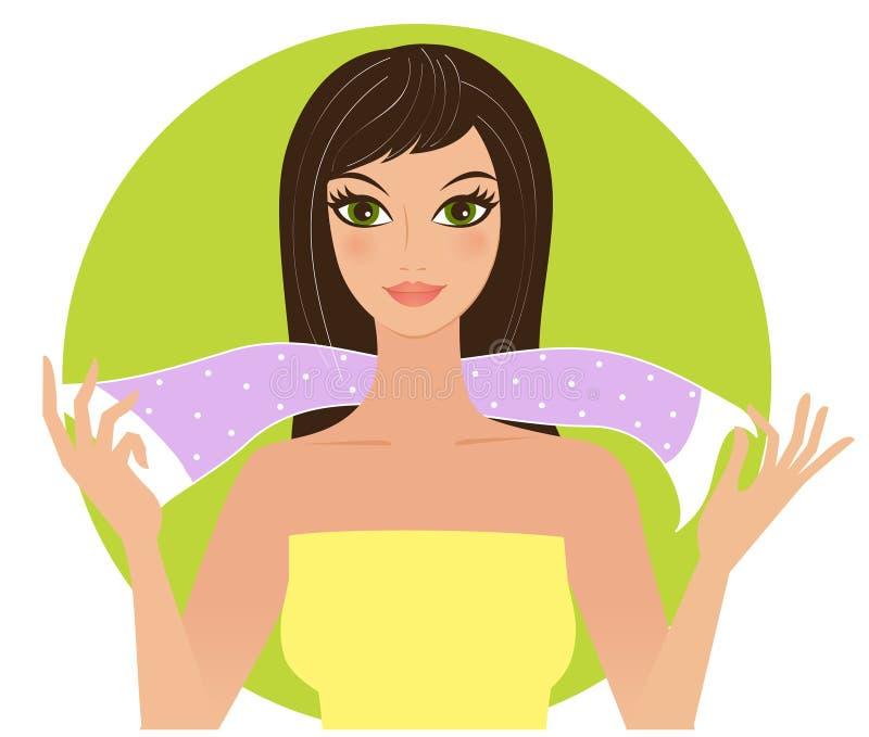 Vrouw met sjaal royalty-vrije illustratie