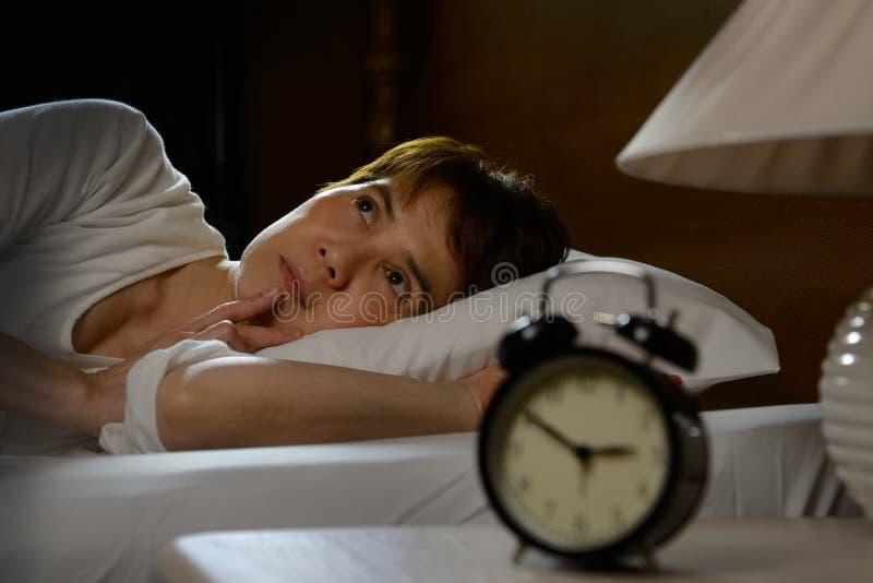 Vrouw met slapeloosheid royalty-vrije stock afbeelding