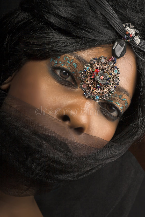 Vrouw met sluier royalty-vrije stock foto's