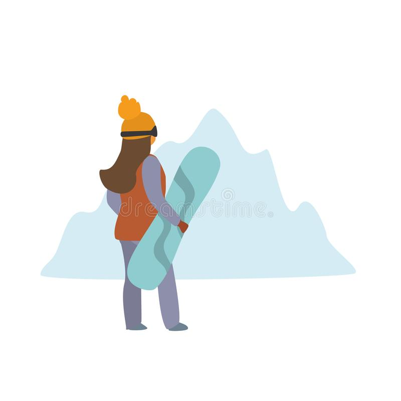 Vrouw met snowboard achtermening geïsoleerde vectorillustratie stock illustratie