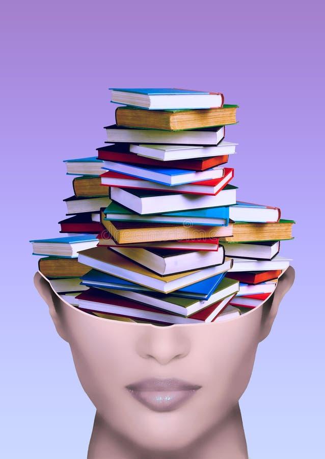 Vrouw met stapel boeken in de hersenen vector illustratie