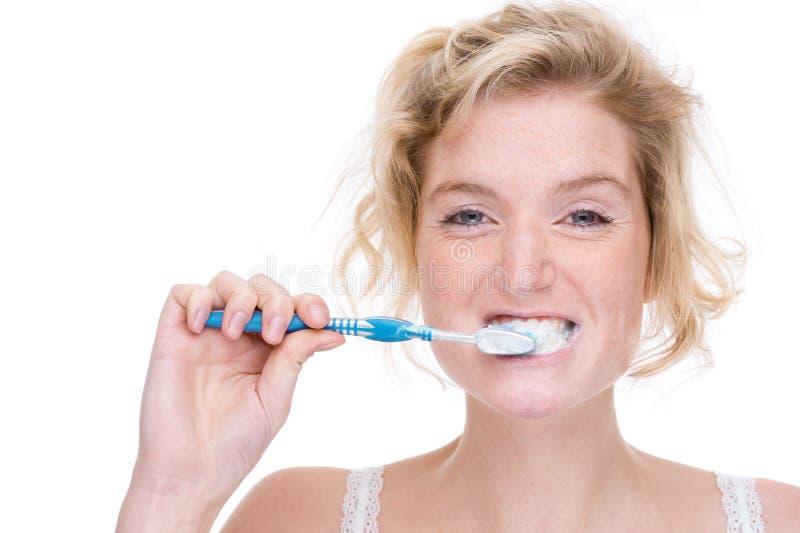 Vrouw met tandenborstel royalty-vrije stock foto's