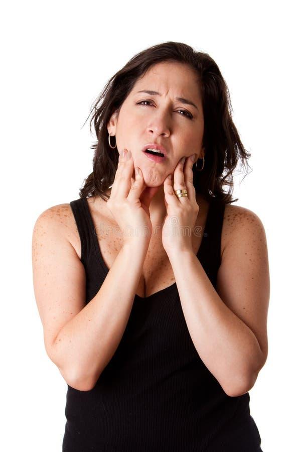 Vrouw met tandkaakpijn royalty-vrije stock fotografie