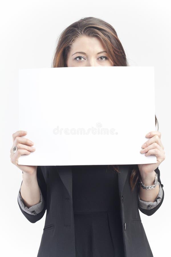 Vrouw met teken royalty-vrije stock foto