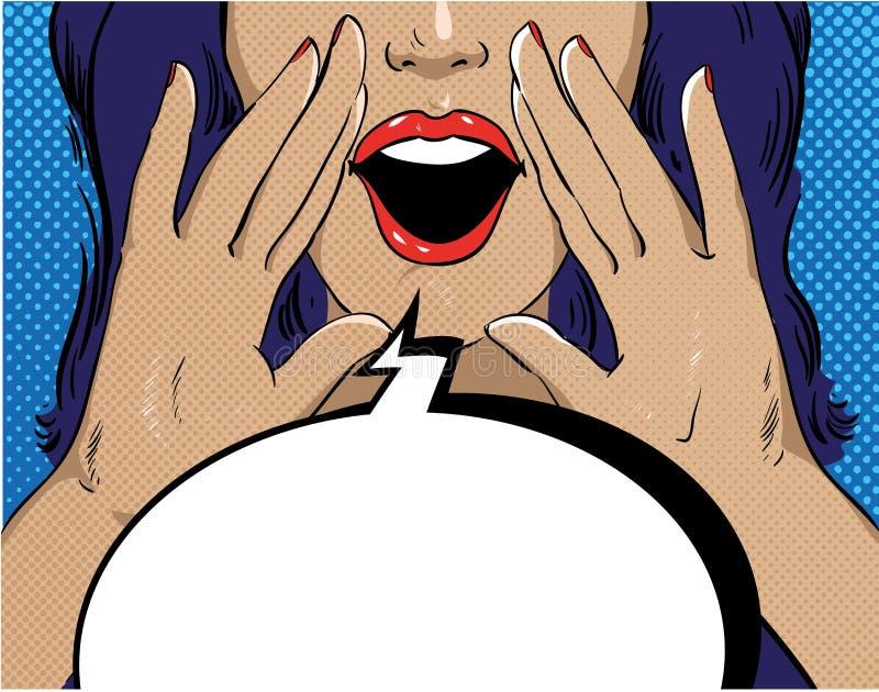 Vrouw met toespraakbel in retro pop-artstijl Meisje het gillen malplaatje grappige vectorillustratie Gezichts open mond stock illustratie