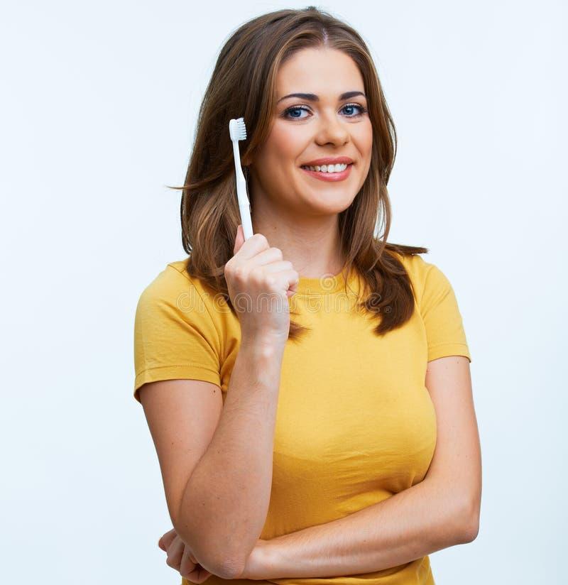 Vrouw met toothy borstel royalty-vrije stock fotografie