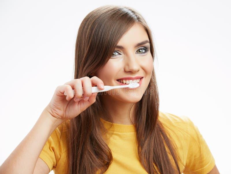 Vrouw met toothy borstel royalty-vrije stock foto's
