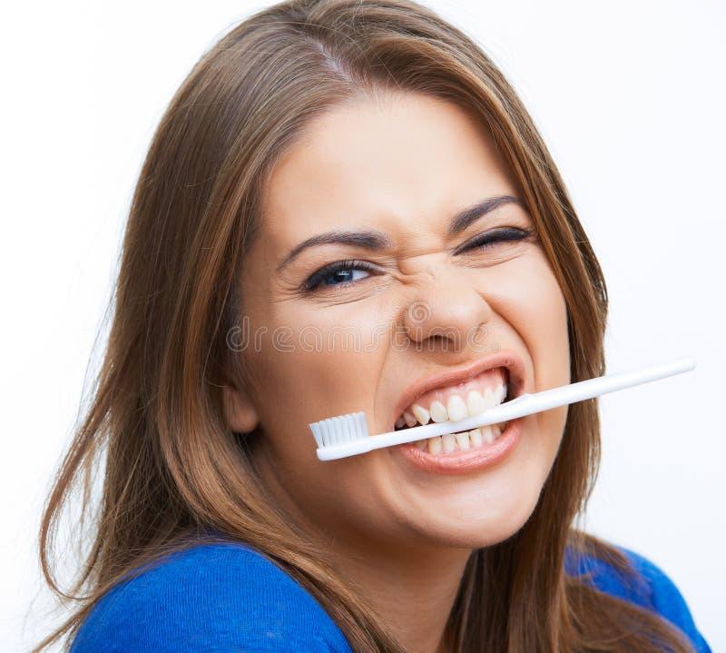 Vrouw met toothy borstel stock foto's