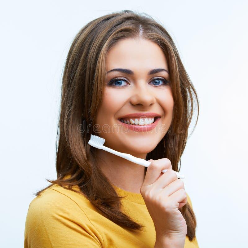 Vrouw met toothy borstel royalty-vrije stock foto