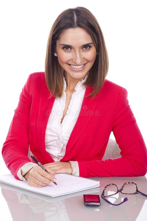 Vrouw met uitdrukking van vertrouwen en vrolijk royalty-vrije stock foto's