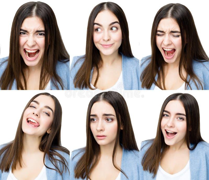 Vrouw met verschillende uitdrukkingen royalty-vrije stock fotografie
