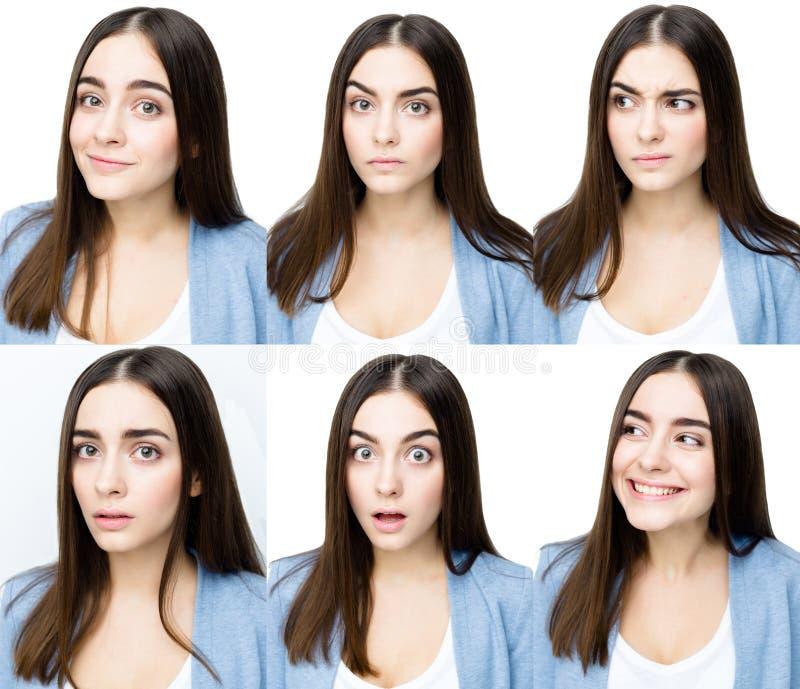 Vrouw met verschillende uitdrukkingen stock afbeeldingen