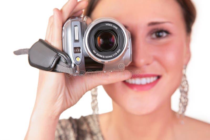 Vrouw met videocamera stock fotografie