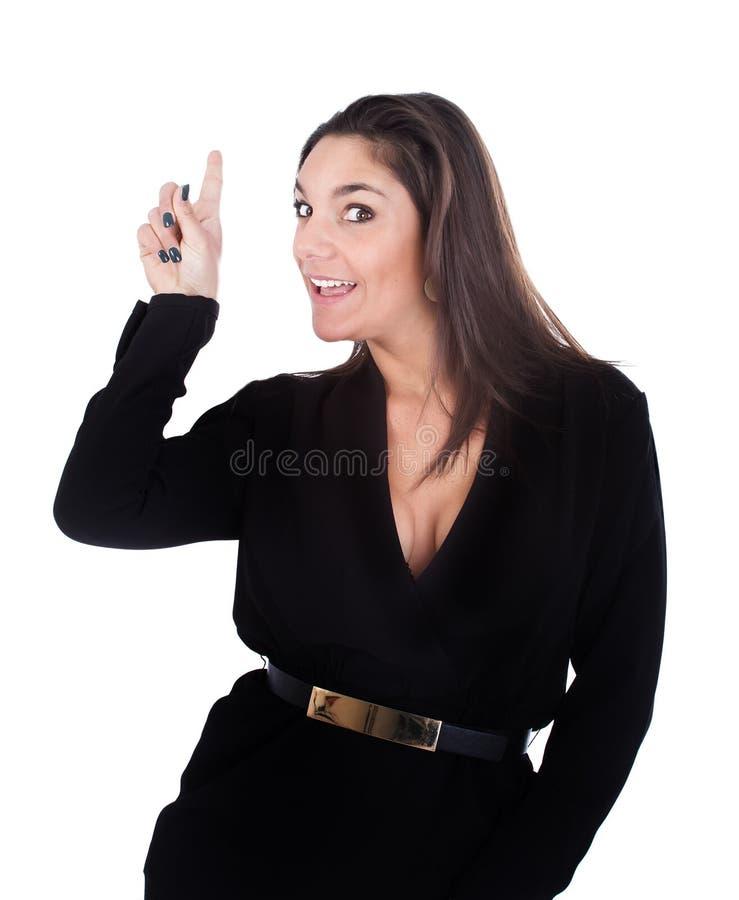 Vrouw met vinger wordt vermeld die royalty-vrije stock afbeeldingen
