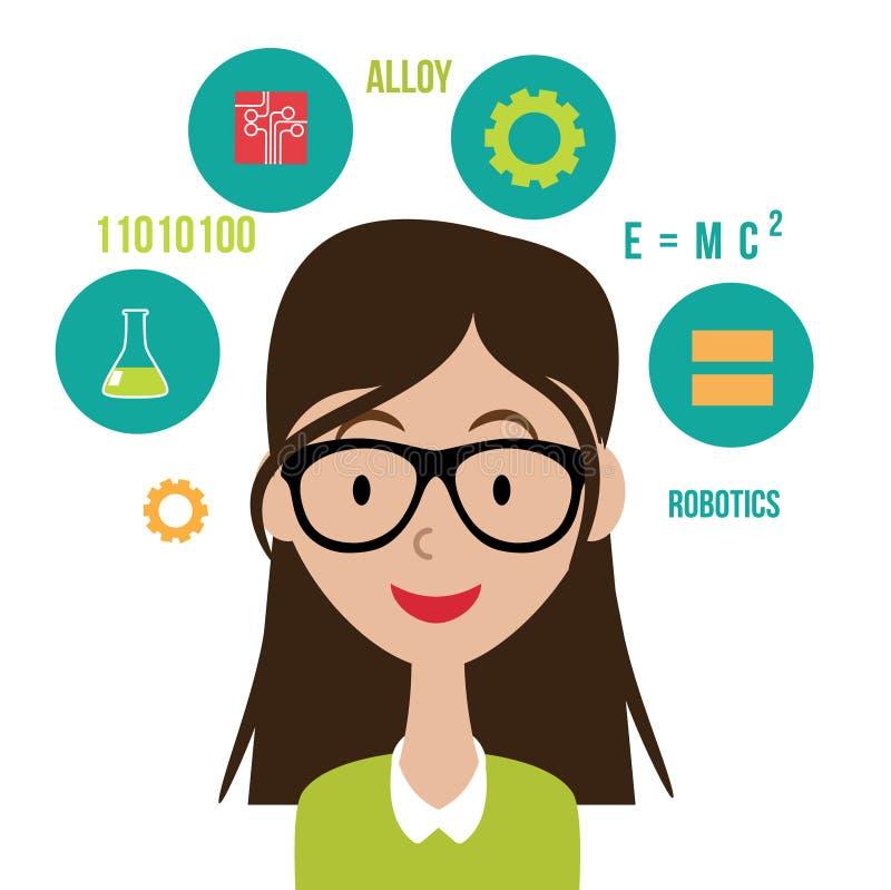 Vrouw met vlakke het ontwerpeps10 vector van STAMpictogrammen royalty-vrije illustratie