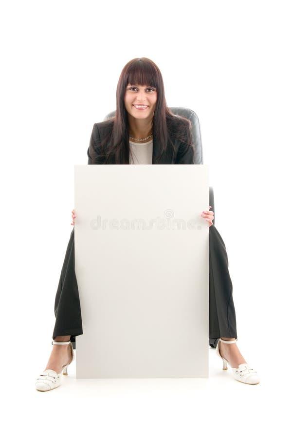 Vrouw met vlakke publiciteit royalty-vrije stock foto's