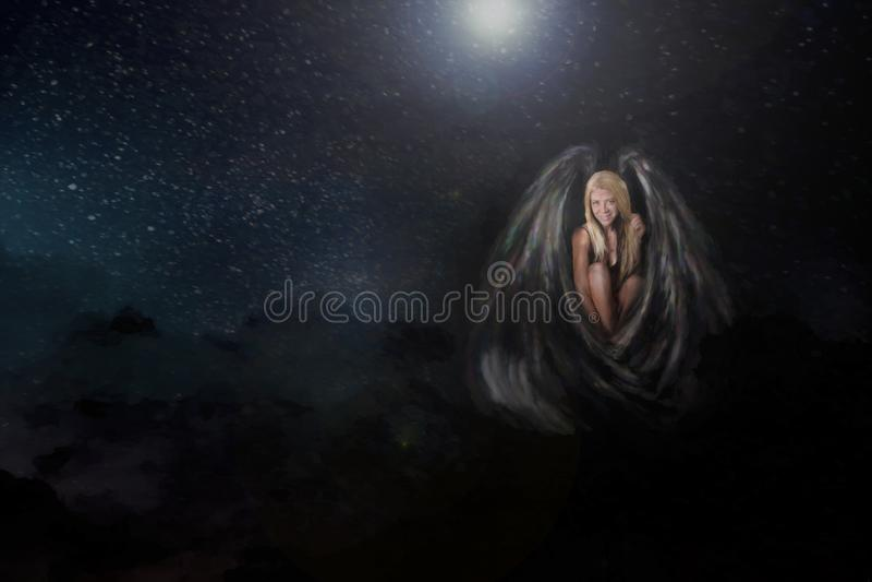 Vrouw met vleugels royalty-vrije stock foto