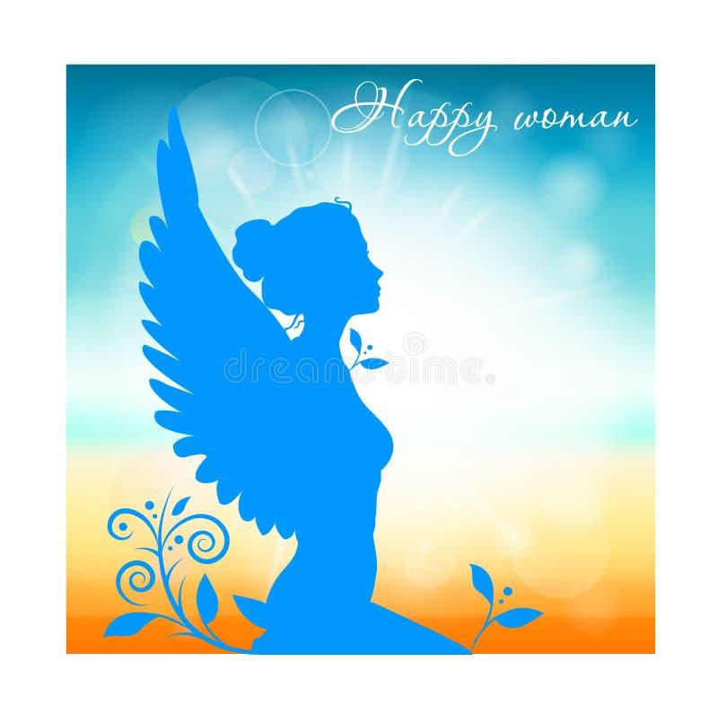 Vrouw met vleugels op natuurlijke achtergrond vector illustratie