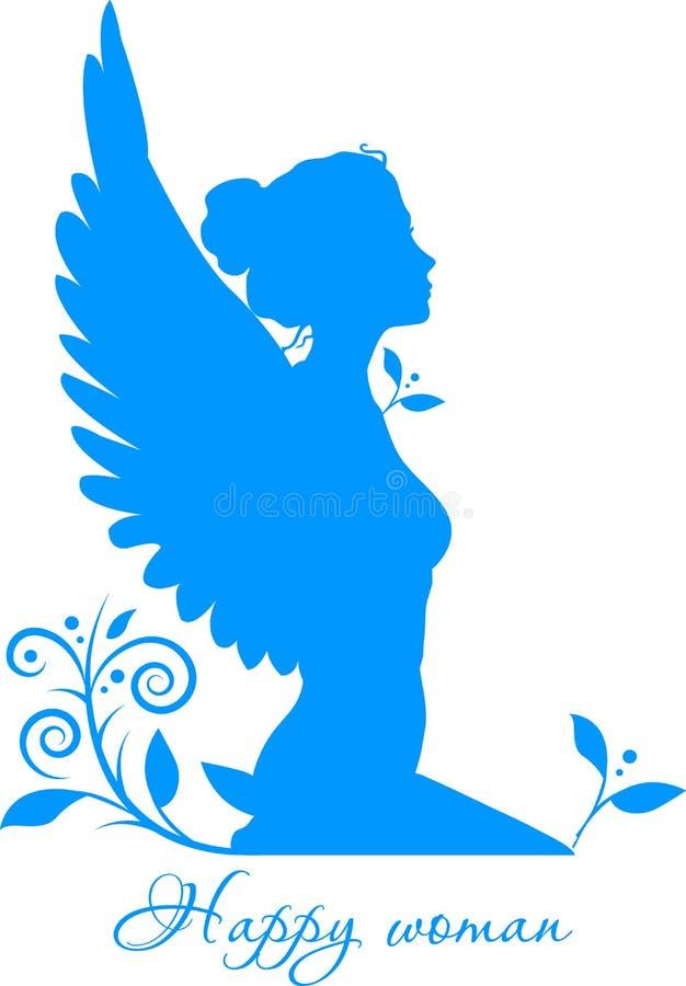 Vrouw met vleugels op wit royalty-vrije illustratie