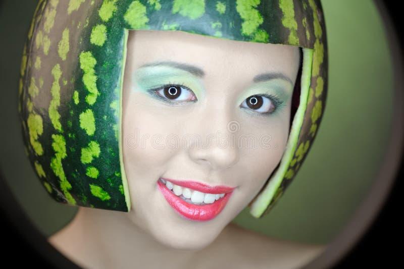 Vrouw met watermeloen stock afbeeldingen