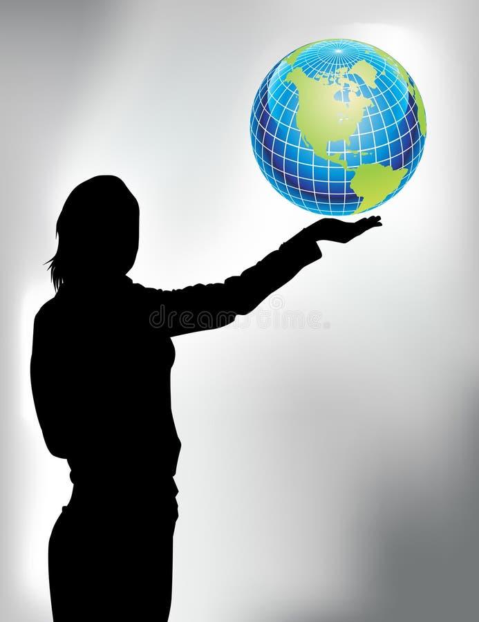 Vrouw met wereld stock illustratie