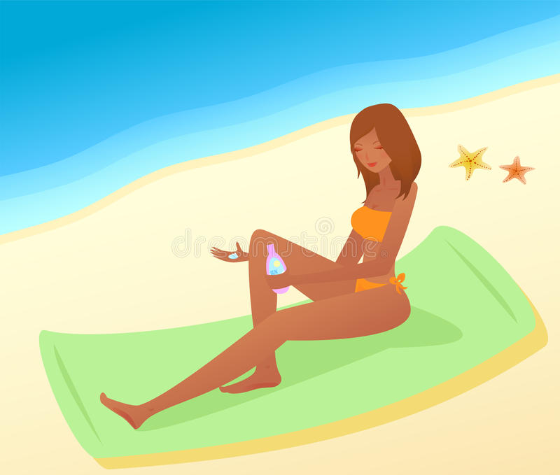Vrouw met zon-bescherming stock illustratie