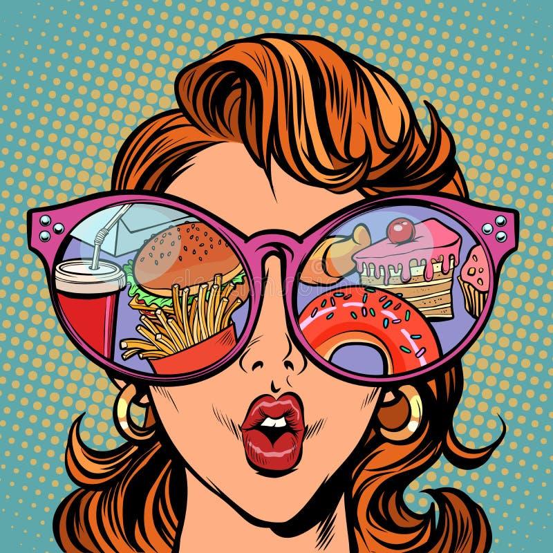 Vrouw met zonnebril Snel voedsel en snoepjes in de bezinning stock illustratie