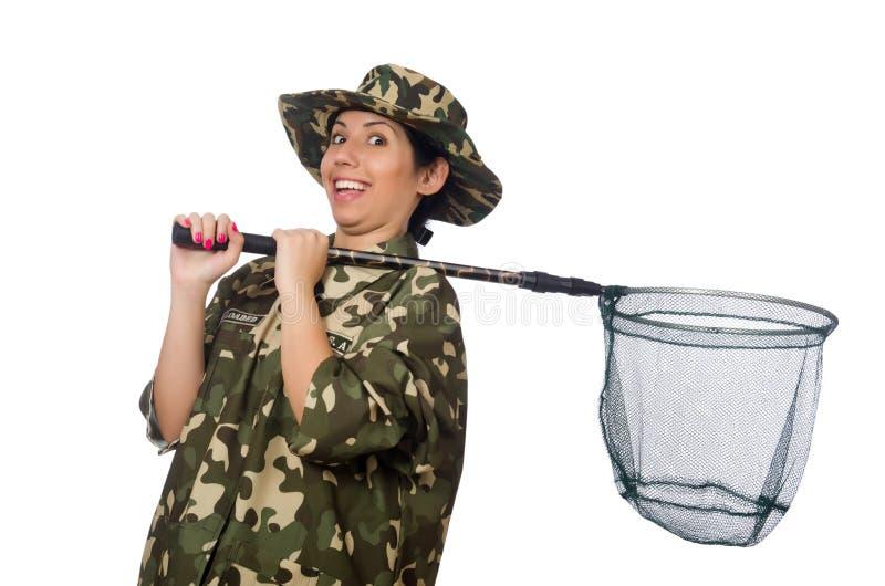 Vrouw in militaire kleding met netto vangen royalty-vrije stock foto's