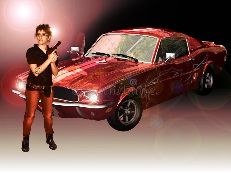Vrouw, Mustang en kanon vector illustratie