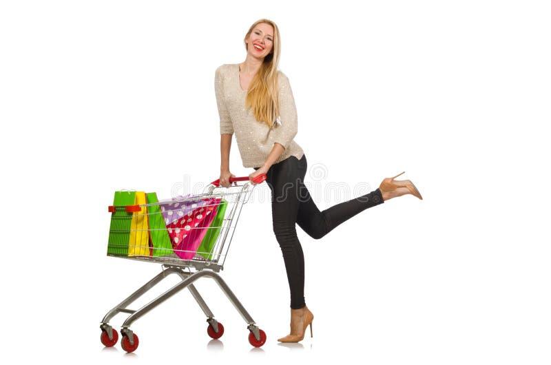 Vrouw na het winkelen royalty-vrije stock afbeeldingen