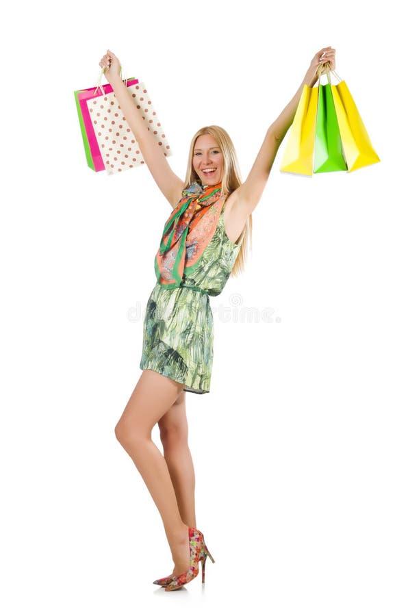 Vrouw na shopping spree stock afbeelding