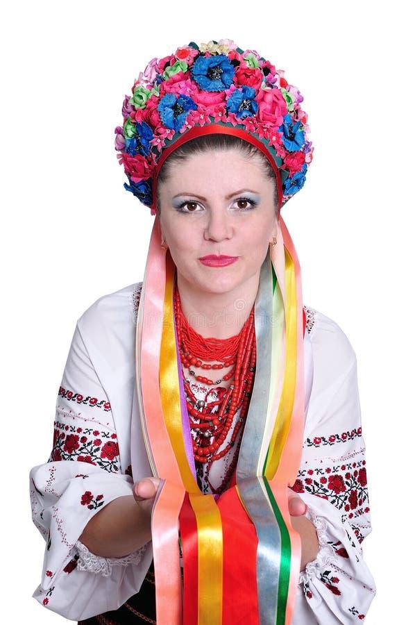 Vrouw in nationaal Oekraïens kostuum. Portret. royalty-vrije stock afbeeldingen