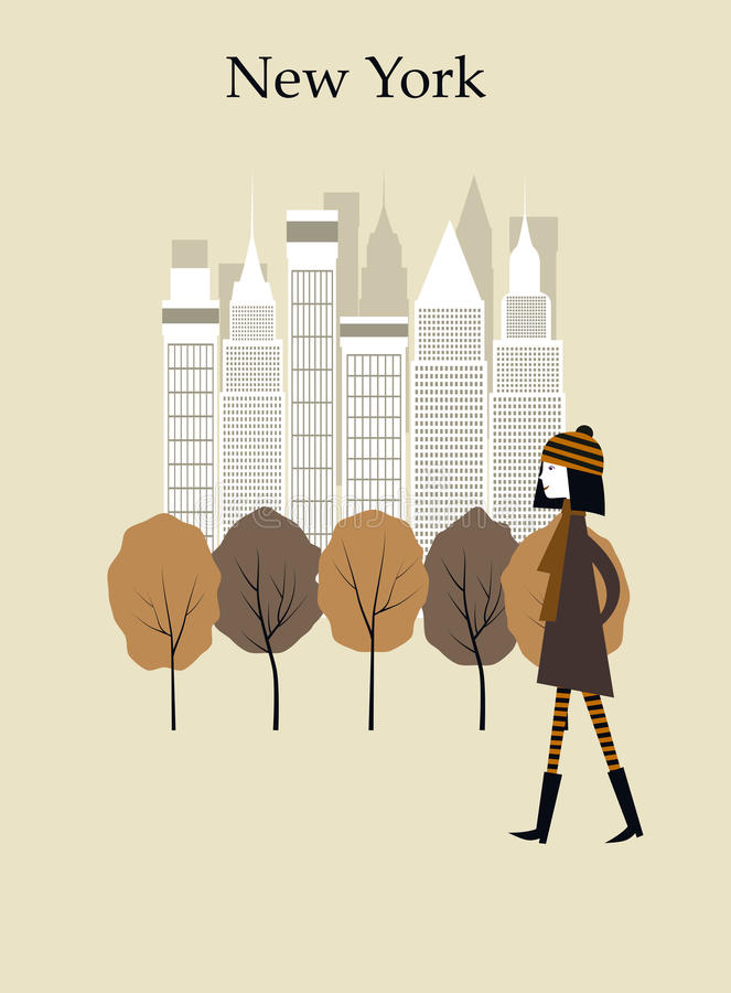 Vrouw in New York vector illustratie