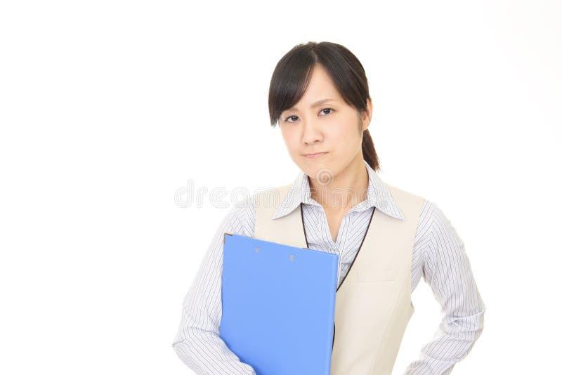 Vrouw niet bevallene uitdrukking royalty-vrije stock afbeelding