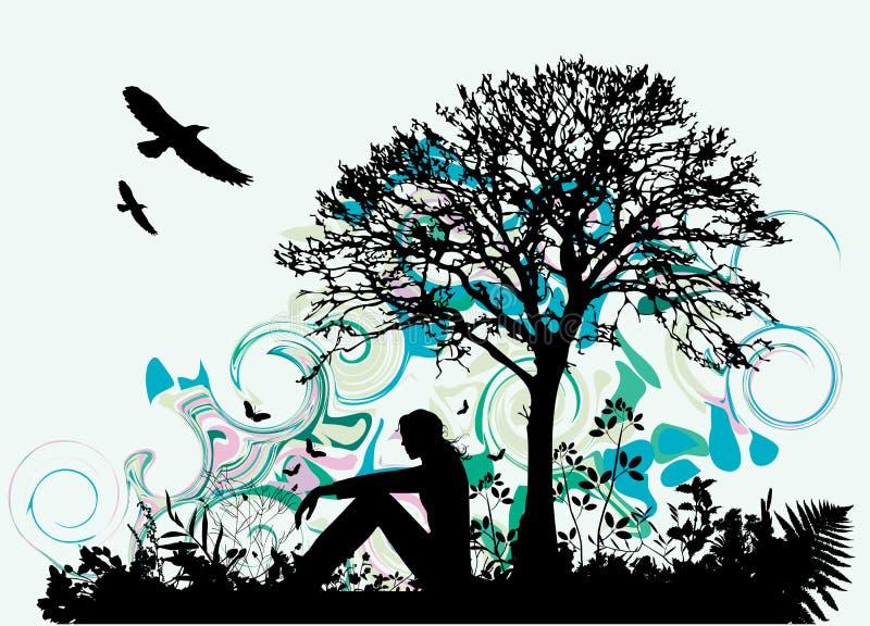 Vrouw onder boom stock illustratie