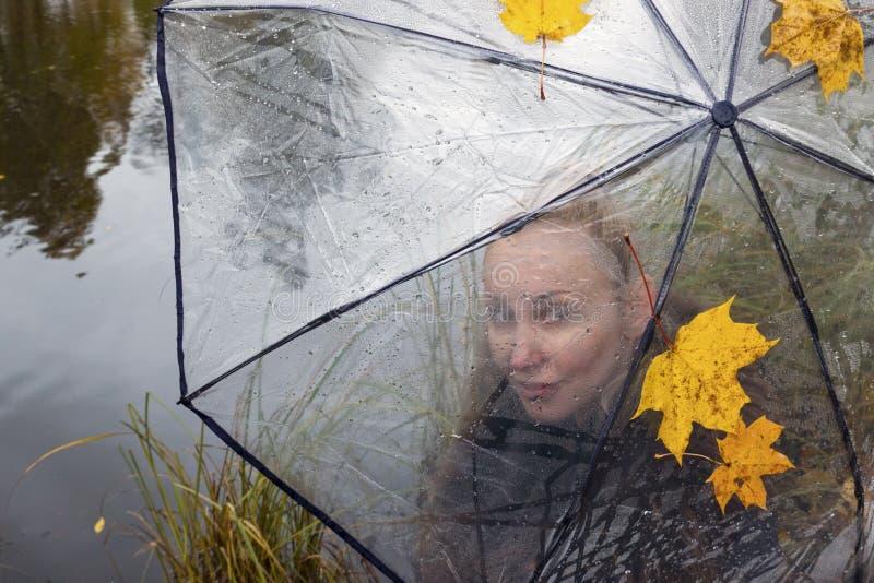Vrouw onder een transparante paraplu op een bewolkte de herfstdag op de meerkust royalty-vrije stock afbeelding