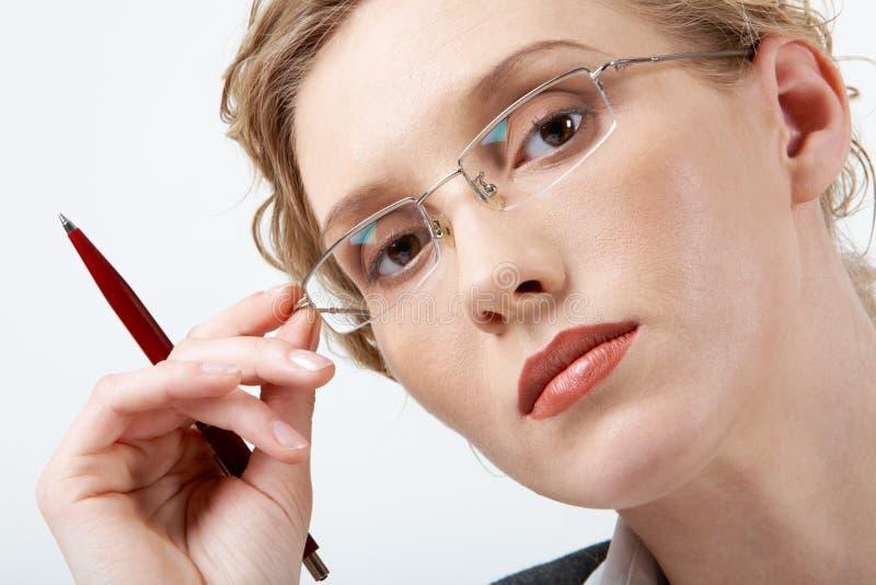 Vrouw in oogglazen stock afbeeldingen