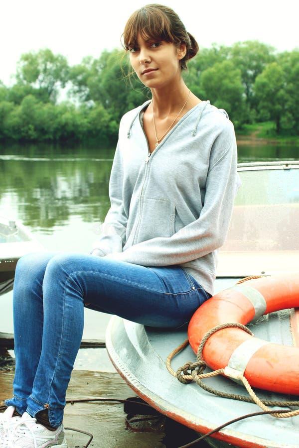 Vrouw op Boot royalty-vrije stock foto
