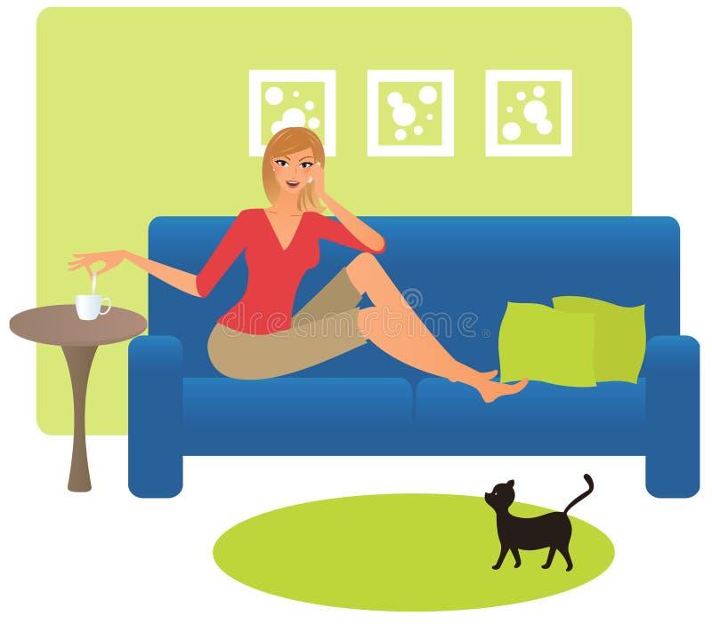 Vrouw op de telefoon vector illustratie
