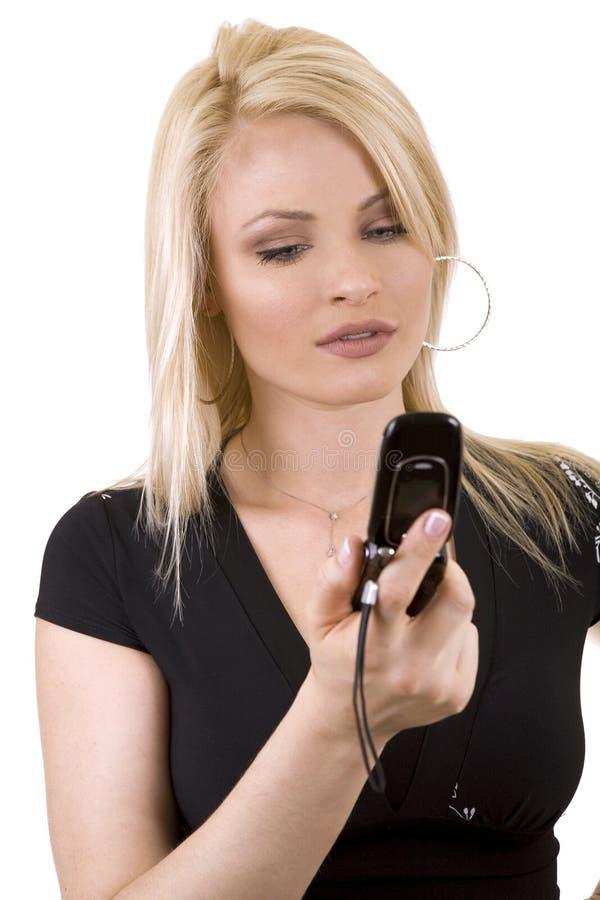 Vrouw op de telefoon royalty-vrije stock foto