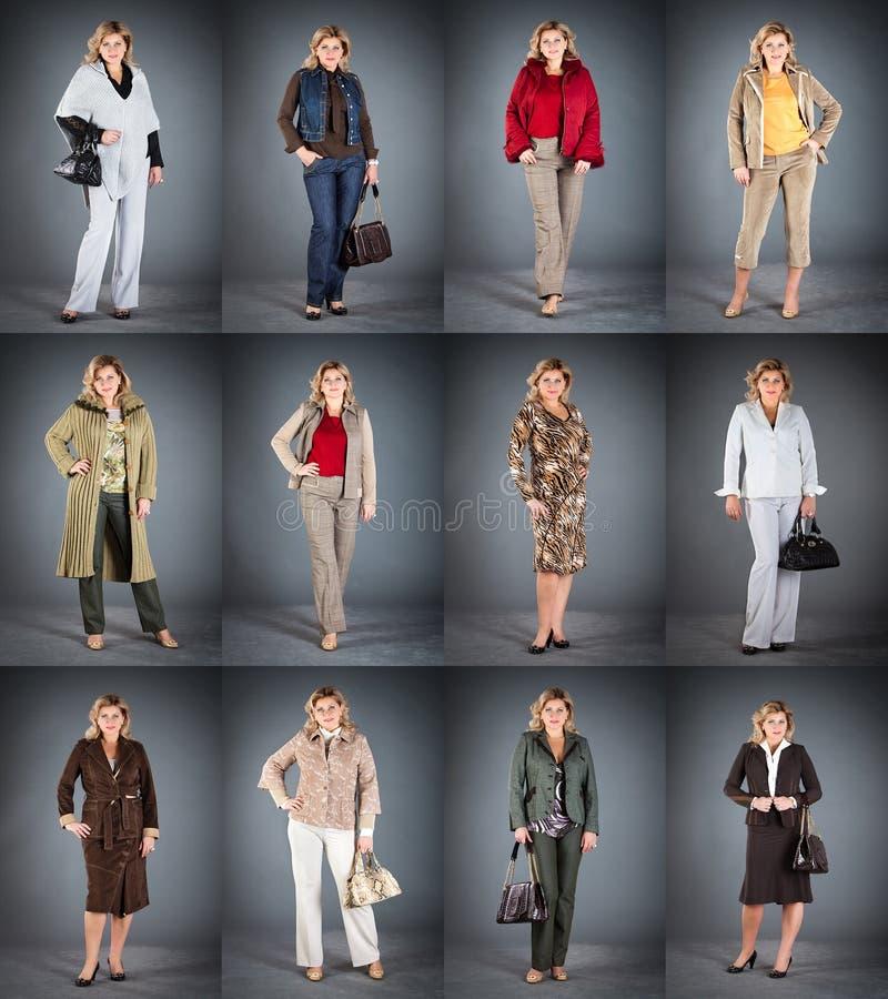 Vrouw op een rijpe leeftijd in verschillende kleren royalty-vrije stock afbeeldingen