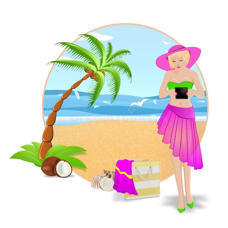Vrouw op een tropisch strand vector illustratie