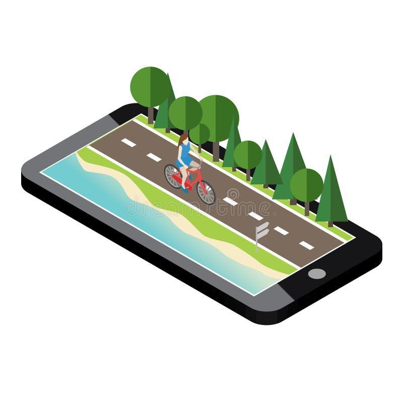 Vrouw op fiets op de weg dichtbij het strand en het bos vector illustratie