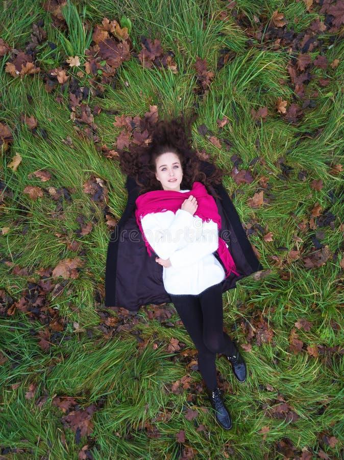 Vrouw op gras stock foto's