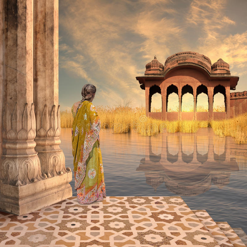Vrouw op het meer royalty-vrije stock afbeelding
